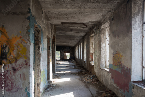 Fotobehang Oude verlaten gebouwen Inside abandoned building, big hall