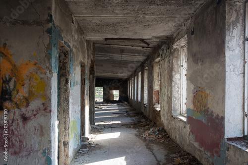 Plexiglas Oude verlaten gebouwen Inside abandoned building, big hall