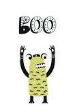 Boo - Funny nursery poster with cute monster and lettering. Vector illustration in scandinavian style