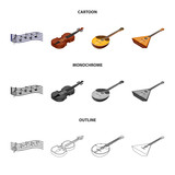 Musical instrument cartoon,outline,monochrome icons in set collection for design. String and Wind instrument isometric vector symbol stock web illustration. - 203922711