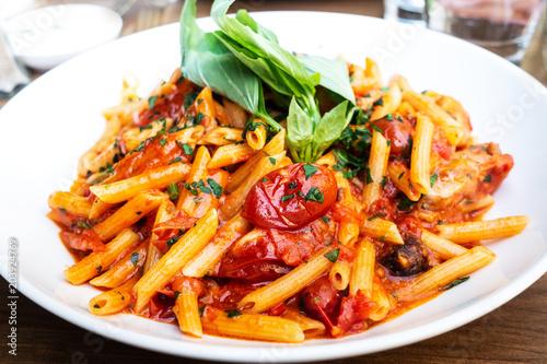 Poster tasty pasta Italian tomato sauce pasta on the table