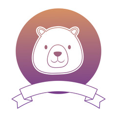 emblem with cute bear and decorative ribbon over white background, vector illustration