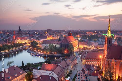 obraz PCV Panorama Wrocławia o zmierzchu