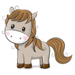 Cute Cartoon Horse on a White background