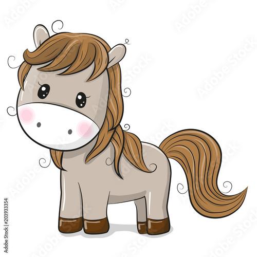 Fototapeta Cute Cartoon Horse on a White background