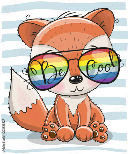 Fototapeta Cute Fox with sun glasses