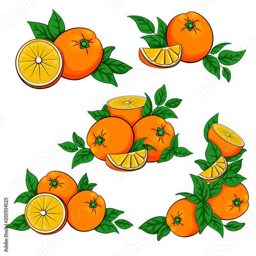 Set pomarańcze z liśćmi odizolowywającymi na białym tle