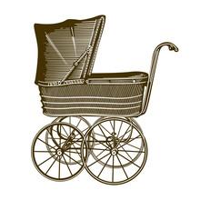 A Retro Babycarriage Sepia Sticker