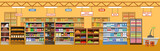 Supermarket interior with products. Big store - 203942319