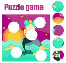 Puzzle For Toddlers Match Pieces And Complete The Picture Educational Game For Pre School Years Kids  Mermaid Sticker