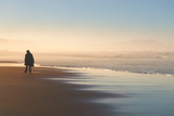 lonely person walking on beach at sunset - 203951770