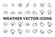Weather Forecast Meteorology Icons Set. Sun, Snow, Cloud, Rain, Storm, Sunrise, Dawn, Moon, Wind. Minimal Flat Line Outline Stroke Pictograms.