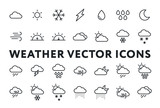 Weather Forecast Meteorology Icons Set. Sun, Snow, Cloud, Rain, Storm, Sunrise, Dawn, Moon, Wind. Minimal Flat Line Outline Stroke Pictograms. - 203979521