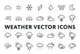 Weather Forecast Meteorology Icons Set. Sun, Snow, Cloud, Rain, Storm, Sunrise, Dawn, Moon, Wind. Minimal Flat Line Outline Stroke Pictograms. - 203979521
