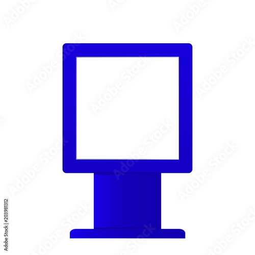 Advertising digital signage mockup isolated on white background. Multimedia stand template. Outdoor Advertising POS POI Stand Banner Or Lightbox. Stand digital signage with blank screen.
