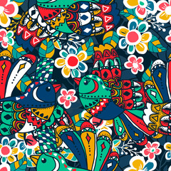 Seamless texture. Multicolor pattern of birds, flowers and leaves.
