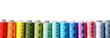 Leinwandbild Motiv Color sewing threads on white background, top view