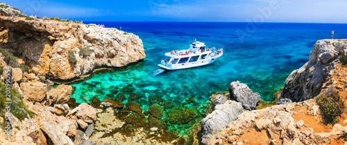 Fotobehang Freesurf Amazing sea and rocks formation in Cyprus. Boat trips in Natural park Cape Greko