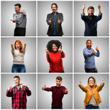 Group of mixed people, women and men stand happy and positive with thumbs up approving with a big smile expressing okay gesture
