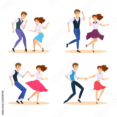 Fototapeta Dancing couple vector illustration. Happy swing dancers.
