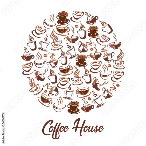 Fototapeta Hot coffee steam cups vector cafe poster of icons
