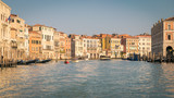 Historic buildings on the banks of the grand canal in Venice.