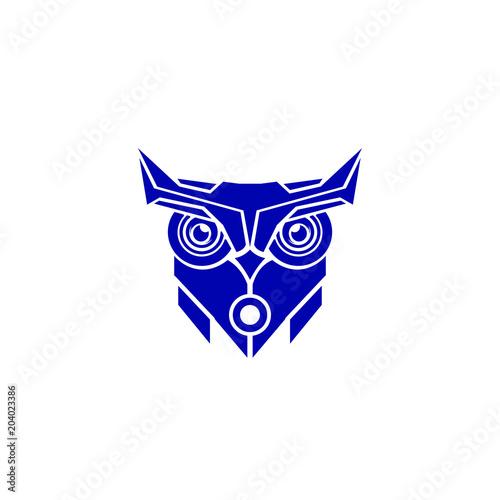 Fotobehang Uilen cartoon tech owl logo template