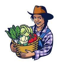 Happy Woman Farmer Hold A Bucket Full Of Vegetables Crop Sticker