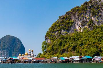 Koh Panyi island with fishing village in Phang Nga Bay, Thailand