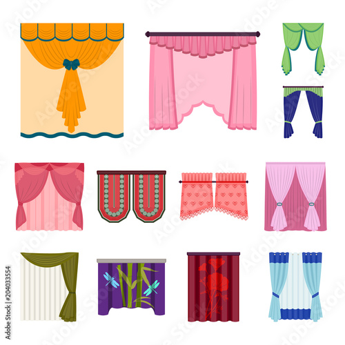 Different kinds of curtains cartoon icons in set collection for design. Curtains and lambrequins vector symbol stock web illustration. - 204033554