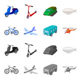 Bicycle, airplane, bus, helicopter types of transport. Transport set collection icons in cartoon,monochrome style vector symbol stock illustration web. - 204034911