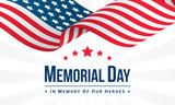 Memorial Day Background Vector illustration, USA flag waving with text. - 204035964