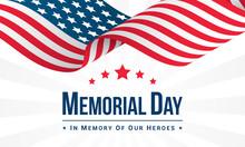 Memorial Day   Illustration Usa Flag Waving  Text Sticker
