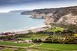 Beautiful seascape, rocky coast of the Mediterranean Sea on the island of Cyprus
