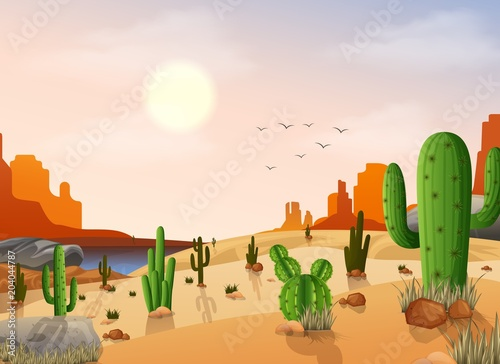 Desert landscape with cactus on the sunset background