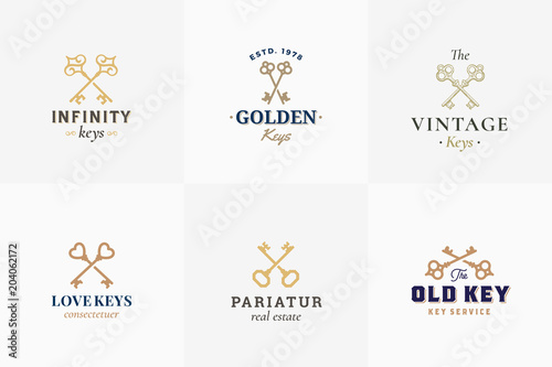 Vector Retro Key Emblems Set. Abstract Vector Signs, Symbols or Logo Templates. Different Crossed Keys Sillhouettes with Classy Vintage Typography. - 204062172