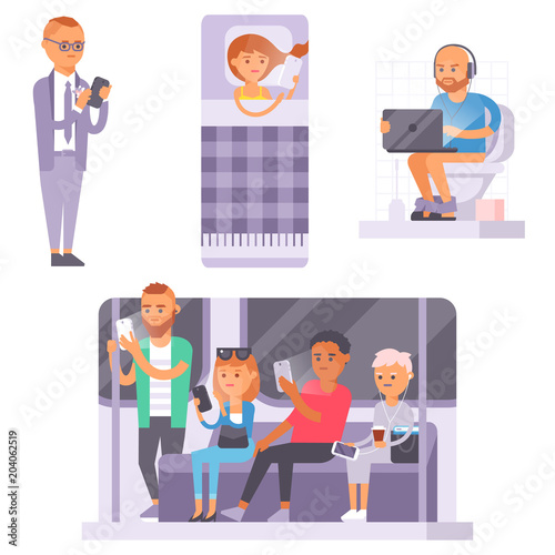 People and gadgets concept. Busy person smart phone social communication lifestyle. Online social network modern life problem connection using tablet or laptop computer.
