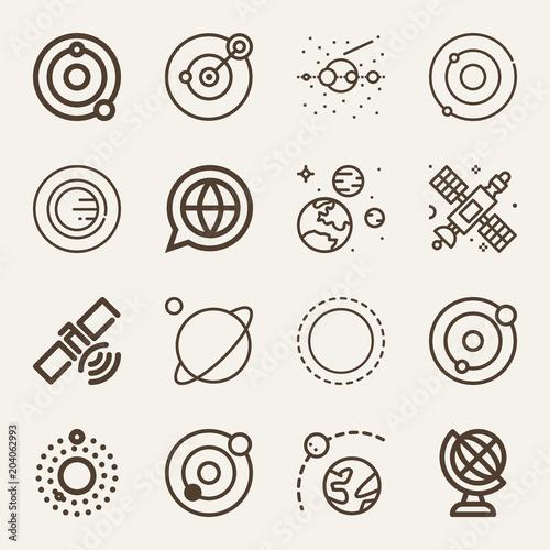 Fototapeta Set of 16 planet outline icons