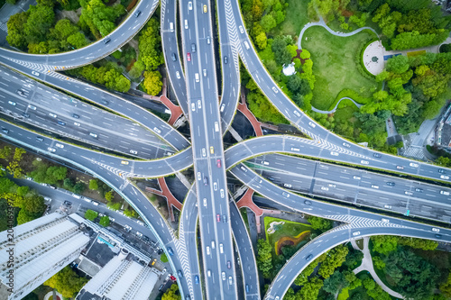 Wall mural aerial view of city interchange