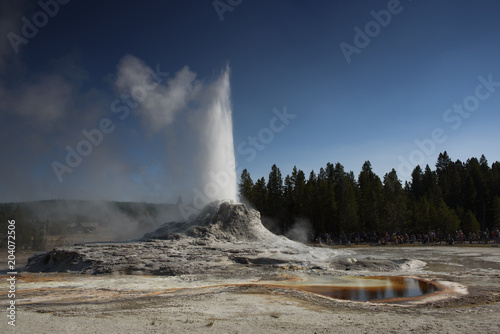Erupting castle geyser and toirtoise shell pool in Yellowstone national park