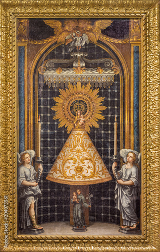 Fotobehang Jezus Christus ZARAGOZA, SPAIN - MARCH 2, 2018: The painting of Our Lady of the Pillar in church Iglesia de la Exaltación de la Santa Cruz by unknown artist from 18. cent.