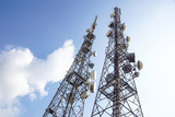 telecommunication mast TV antennas wireless technology with blue sky in the morning - 204076783