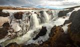 Kolufossar Waterfall, Kolugljúfur Canyon, Iceland in Winter