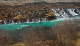 Hraunfossar in March, Iceland lava falls