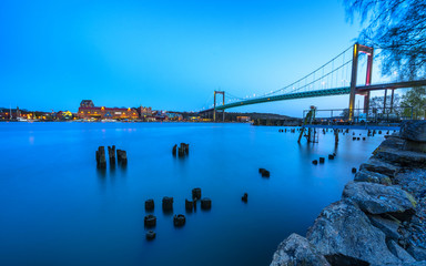 Blue hour water scene