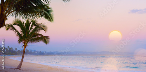 Fotobehang Strand Art Summer Drims; Beautiful sunset over the tropical beach; summer dream vacation