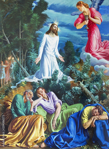 Foto Spatwand Jezus Christus PARMA, ITALY - APRIL 16, 2018: The painting of Prayer of Jesus in Gethsemane garden in church Chiesa di San Vitale by D. Pozzi (1894 - 1946).