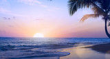 Art summer tropical vacation drims; Beautiful sunset over the tropical beach - 204086752