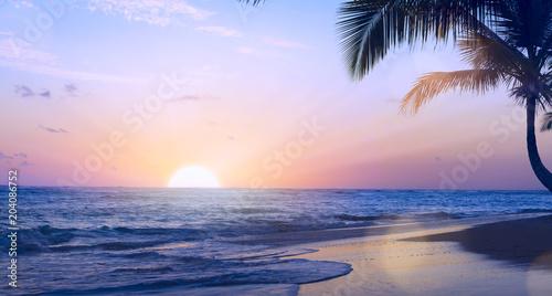 Art summer tropical vacation drims; Beautiful sunset over the tropical beach