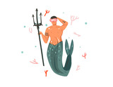 Hand drawn vector abstract cartoon graphic summer time underwater illustrations with coral reefs and swimming mermaid man character isolated on white background - 204090527